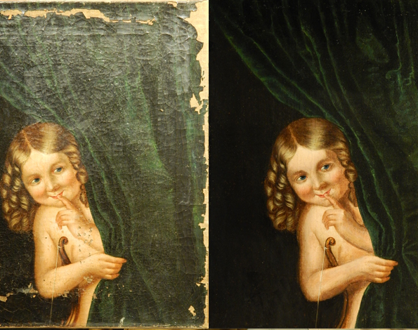 strip varnish from oil painting, reline oil painting, clean oil painting, repair torn oil painting, patch oil painting, retouch oil painting.