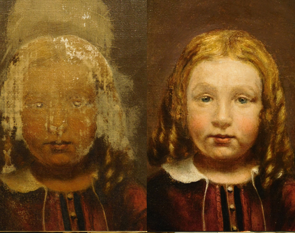 Clean oil painting, retouch oil painting, reconstruct oil painting, repair portrait painting.