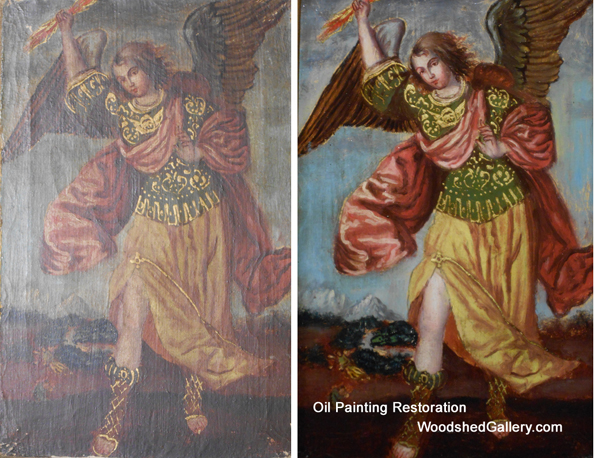 Clean oil painting, retouch oil painting, flatten old oil painting, re-varnish old oil painting.