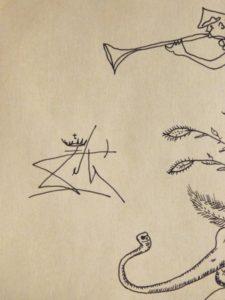 Salvador Dali: Surreal Figure Standing on an Elephant Signature detail